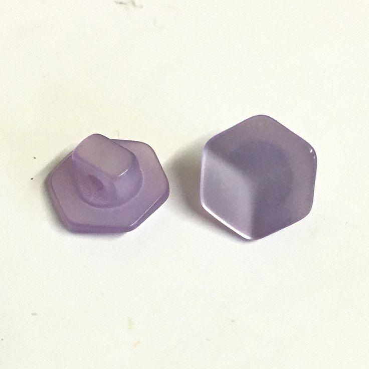10, lilac hexagon buttons, hexagon shaped buttons, tiny buttons, opalescent buttons, dolls buttons, baby buttons, faceted buttons by Buttonsheduk on Etsy