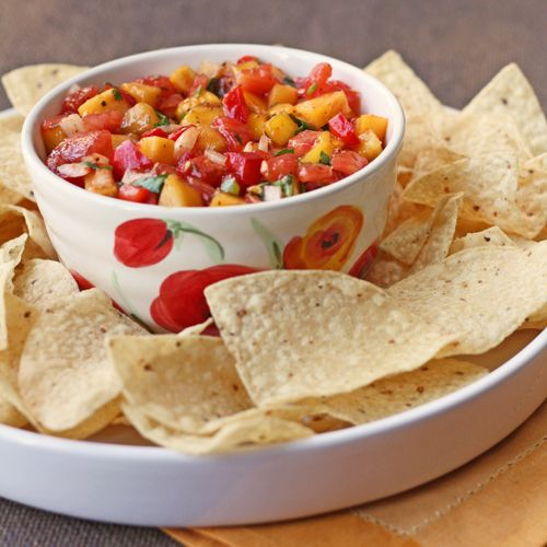 A Delicious Homemade Salsa Made With Tomatoes, Peaches