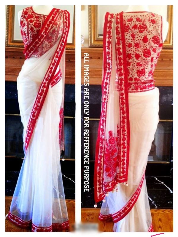 Lovely Plain White Saree In Net Fabric With Resham Embroidery http://www.fabefy.com/lovely-plain-white-saree-in-net-fabric-with-resham-embroidery.html?___SID=U