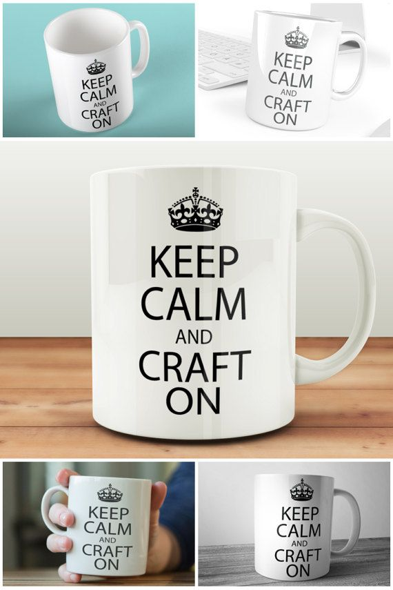 Keep Calm And Craft On Mug Gift For Crafters  #keepcalm #crafton #muglife #craftgift #giftforcrafters #prandski