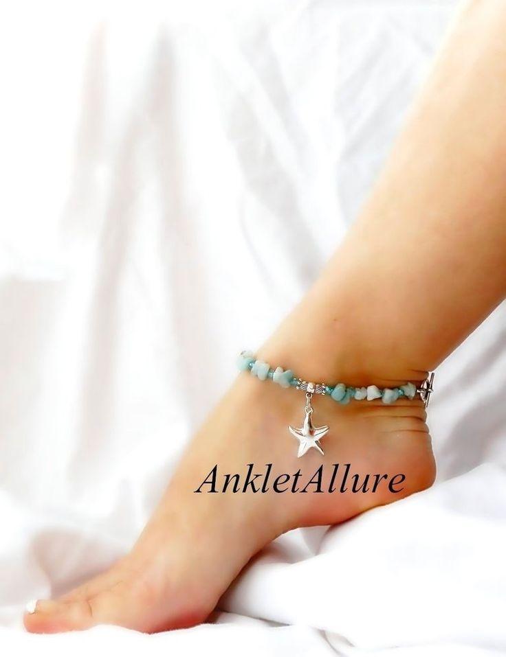 STONEY BLUE BEACH FEET STARFISH ANKLET BEACH JEWELRY SILVER ANKLE BRACELET #ankletallure