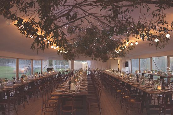 Less greenery, more branches, intertwined over the dance floor