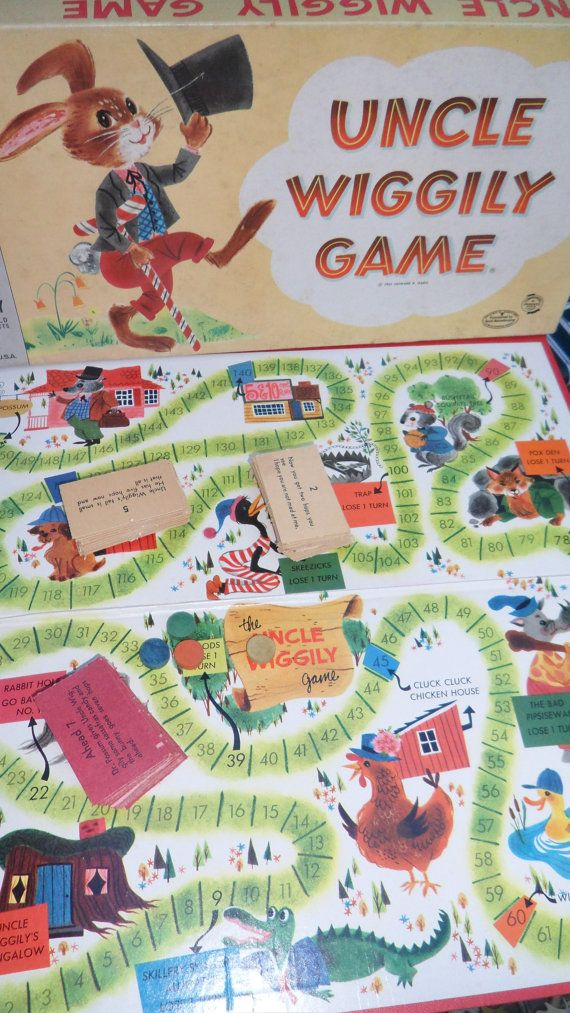 Vintage 1961 Uncle Wiggly Board Game  Complete  Milton Bradley Board Game  Original price tag 75 cents