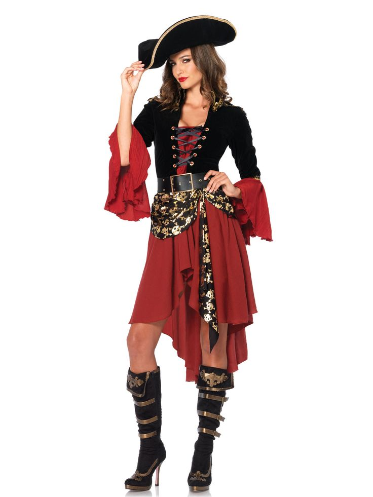 Déguisement pirate femme : Ce déguisement pour adultes est composé d'un robe et d'une ceinture (chapeau et couvre-bottes non inclus).Le haut de la robe reprend la forme d'un corset en effet velours...