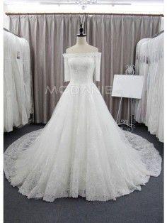 Traîne cathédrale robe de mariée 2016 manches mi-longues en dentelle