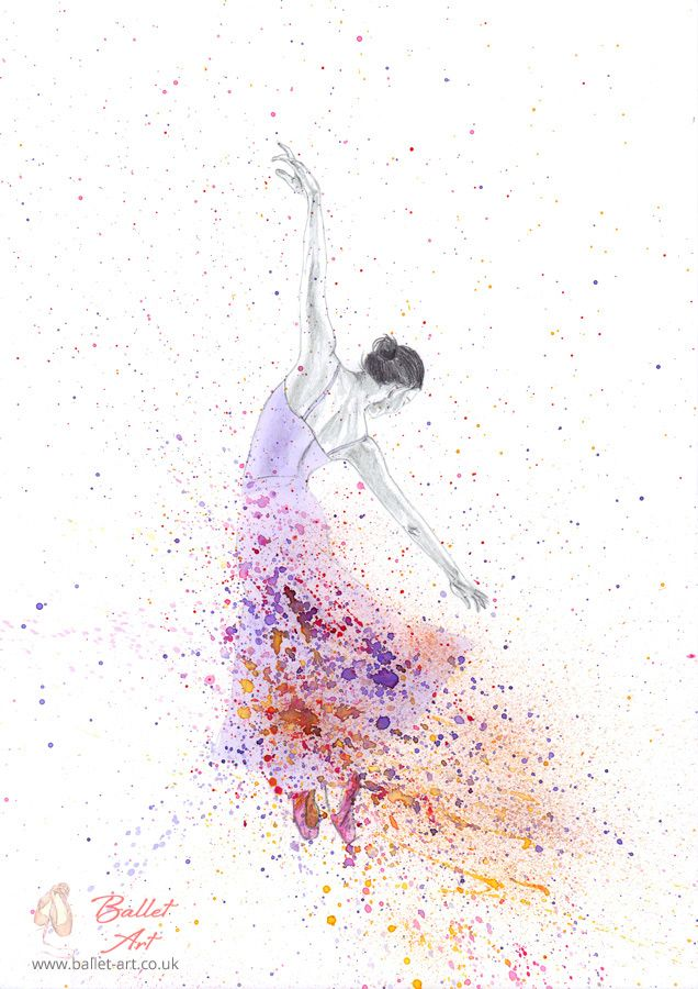Purple Spray Ballerina Ballet Painting Watercolour Drawings