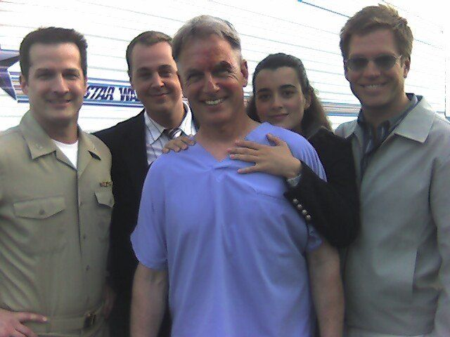 Mark Harmon, Cote de Pablo, Michael Weatherly and Sean Murray on set NCIS, May 2, 2006