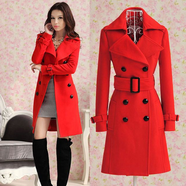 With Belt Women's Trench Cashmere Slim Winter Warm Coat Long Wool Jacket Outwear (I've been looking for a coat just like this but not red. I've been looking for YEARS! They only have petite sizes too, it's so frustrating! DX)