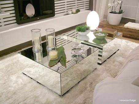 Mesa de centro espelhado lapidado c rodas silicone - Mesas de centro pequenas ...