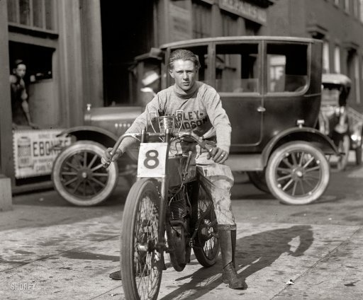 """Fretwell, 1922."" Fred ""Freddy"" Fretwell of Washington on a Harley-Davidson motorcycle. National Photo Collection glass negative."