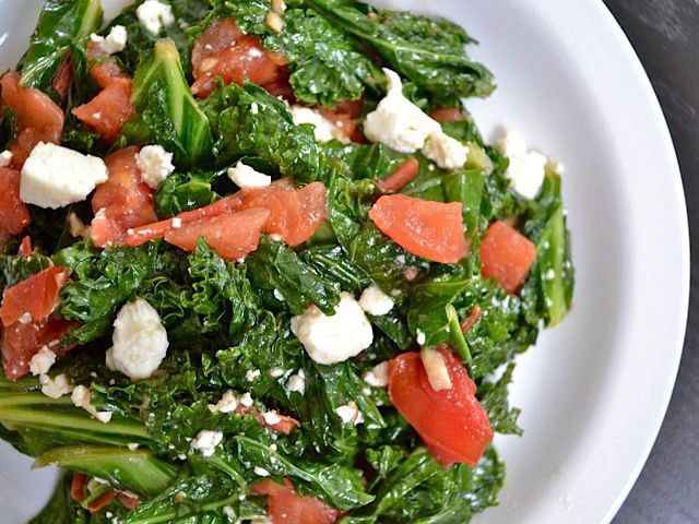 Kale with Tomatoes and Feta