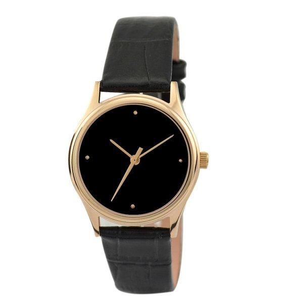 Ladies Simple Watch Rose Gold / Black by SandMwatch on Etsy, $38.00