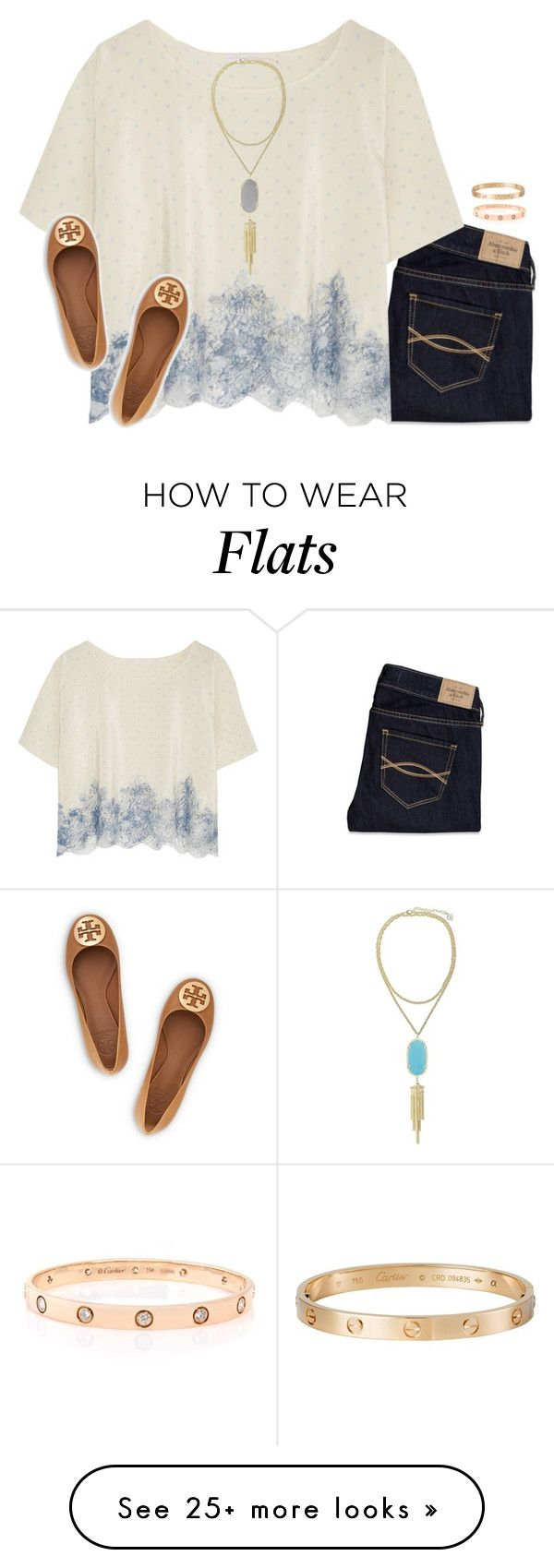 """""""watching old himym episodes"""" by serenag123 on Polyvore featuring Abercrombie & Fitch, Rosamosario, Cartier, Kendra Scott and Tory Burch"""