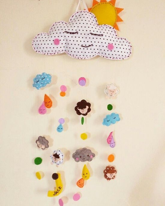 clouds and sheep for babyshower in felt :D