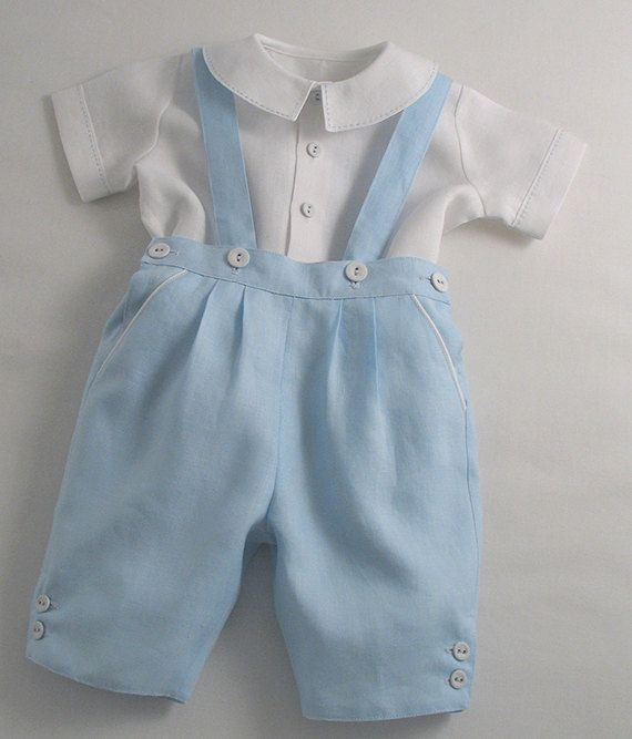 Patricia Smith Designs -Ice Blue Linen Breeches with straps and Pick-stitch Shirt for Little Boys.