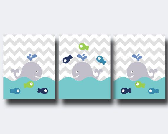 Whale Nursery Art Print, Baby Boy or Girl Chevron Wall Art, Boys or Girls Bedroom Decor-N793,794,795-Unframed    This listing is for 3 art prints only