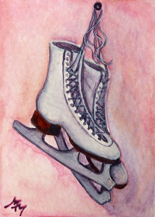 Original ACEO Watercolor Painting ICE SKATES Winter Figure Skating Shoes Girl MM Realism  Aceo