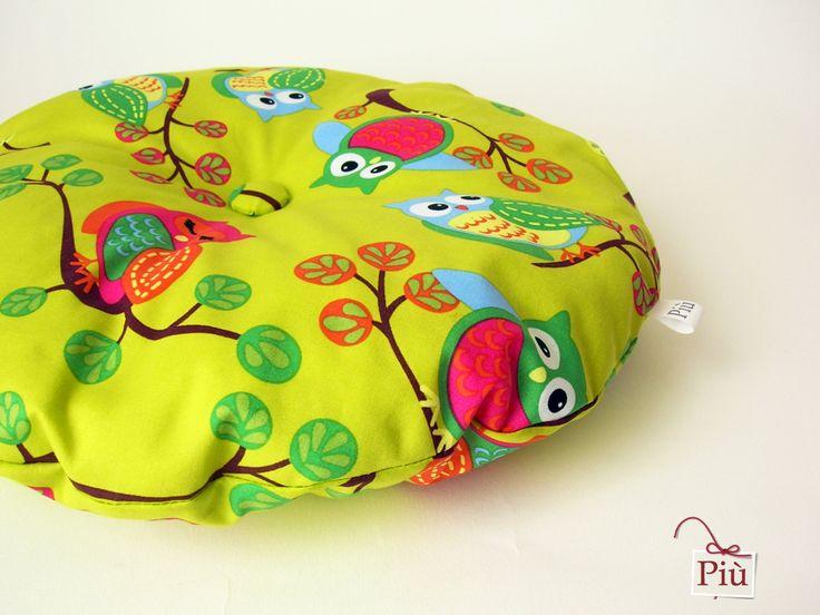 Coussin rond vert pistache et hibou : Textiles et tapis par piu