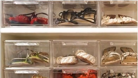 Clear plastic shoe boxes protect and display, with the convenience of modular add-ons.