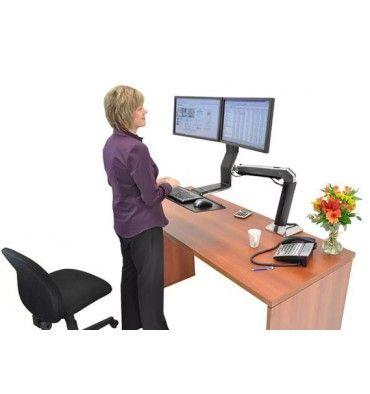 ergotron workfita dual monitor computer stand up desk mount workstation - Stand Up Workstation