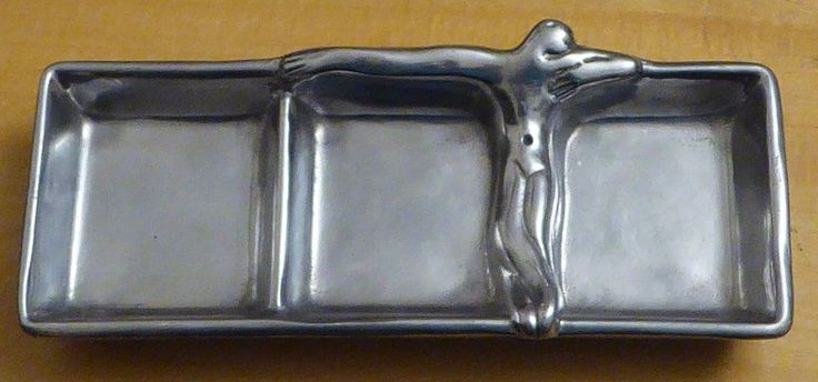 Carrol Boyes Man Art Aluminum Armetale Condiment Relish Serving 3 Section Tray #CarrolBoyes