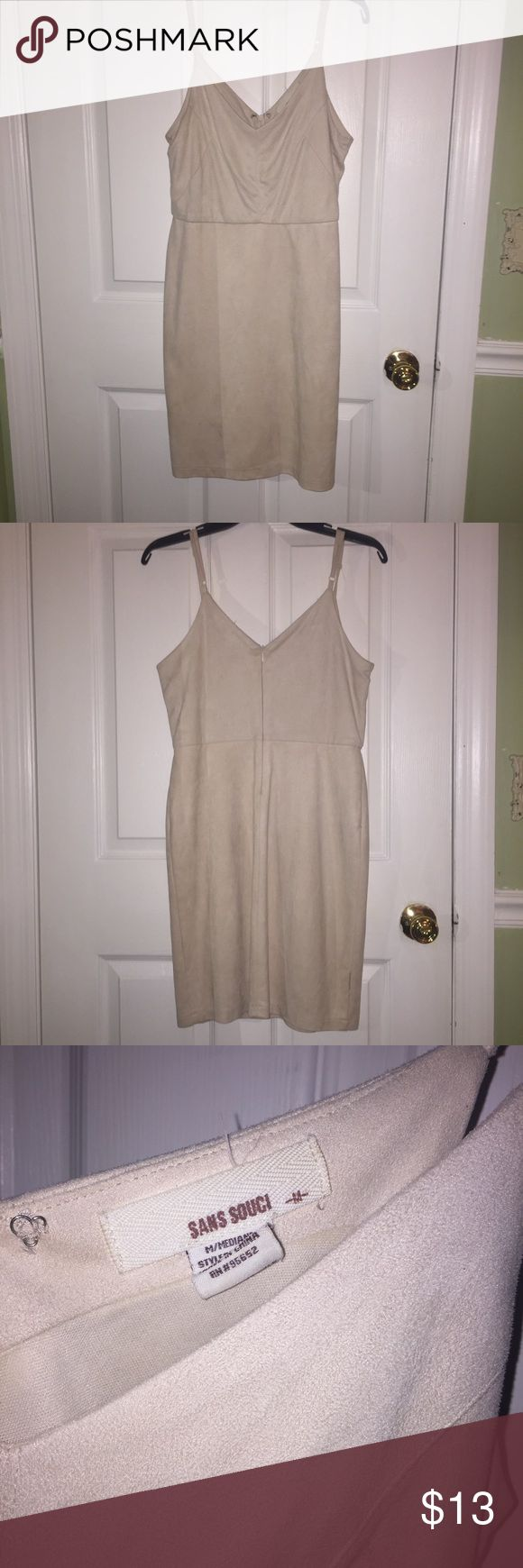 Nude Suede Bodycon Dress nude/tan colored suede dress, size M, great condition with no stains or imperfections, super comfortable and very classy—bought from a boutique near me J. Crew Dresses Mini