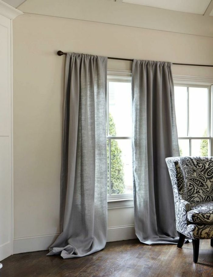 Linen curtain, long drapery in linen gray
