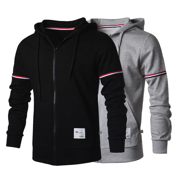 Korea Top Mens Zip Up Hoodie for Men Korea Fashion Full Zip Hoodies US Sz s M | eBay