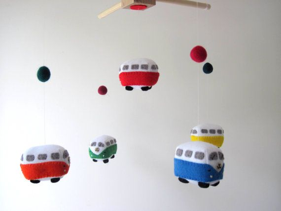 VW Campervan Felt Mobile, Toy Car Kombi Bus Felt Baby Mobile Wool Felt Baby…