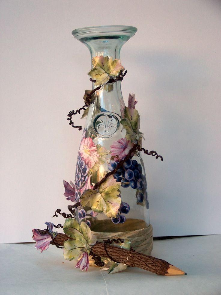 DE 03 Double-face Calambour Paper, designed to decorate transparent objects, Pattern: , #black grapes, bunches of #grapes, flowers, purple tones, grapevine