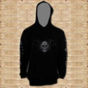 A skull hoodie with a white reflective skull on a tribal background on a mens black hooded sweatshirt. The Tribal 7 Hoodie by Omen clothing in the Skulls and Dragons clothing range.    Made from cotton    Ref : SDBBG418   Price : 23.99 GBP