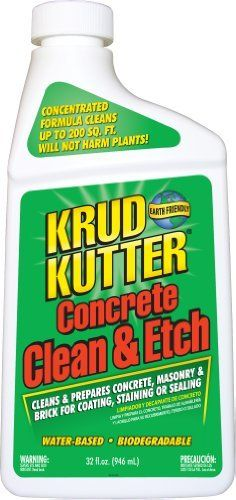 """Krud Kutter CE32 32-Ounce Concrete Clean and Etch by Krud Kutter. $13.40. From the Manufacturer      Need to clean and revitalize your concrete or driveway?  Krud Kutter's Concrete & Driveway Cleaner is the perfect solution for professional or home use.  Contains """"Oil Grabber"""" a unique additive which penetrates the surface to dissolve tough stains from grease, oil, algae, mildew and dirt.  Ideal for use on concrete, brick, masonry, driveways, patios, sidewalks,..."""
