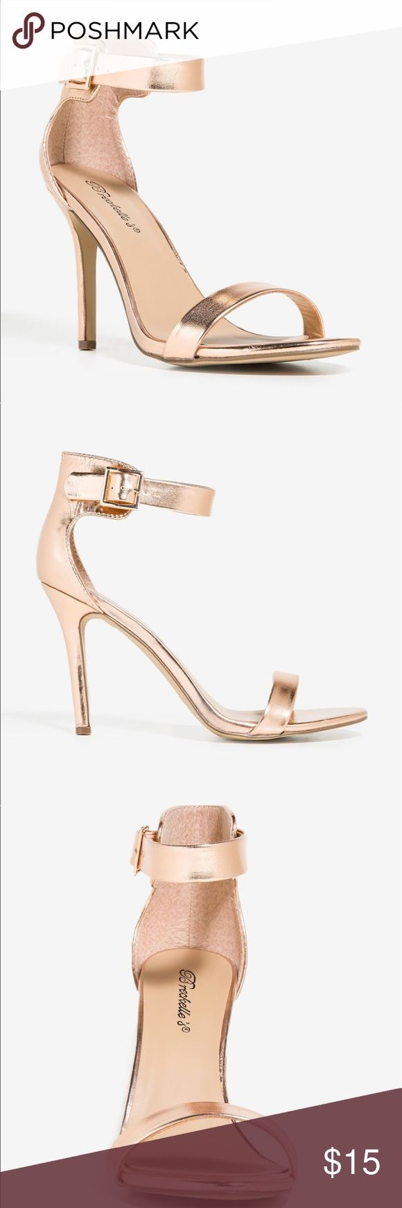 Rose Gold Heels Metallic Rose gold open toe heel with buckle on ankle strap. *Band New* *Never Worn* a'gaci Shoes Heels