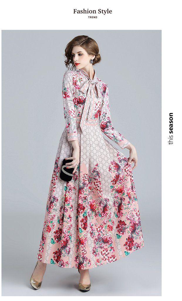 Women Maxi Dress Long Sleeve Floral Print Long Ladies Fashion Casual Dress