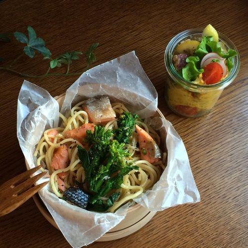 塩鮭と菜の花の和風パスタ弁当| ウーマンエキサイト みんなの投稿