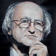 President Michael D. Higgins, Acrylics, A3 size by Wexford based, Matt Doyle (part of his latest work on New Irish Art)