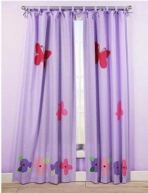 Kids pink purple and lavender tab tie top floor length baby girls nursery butterfly curtains