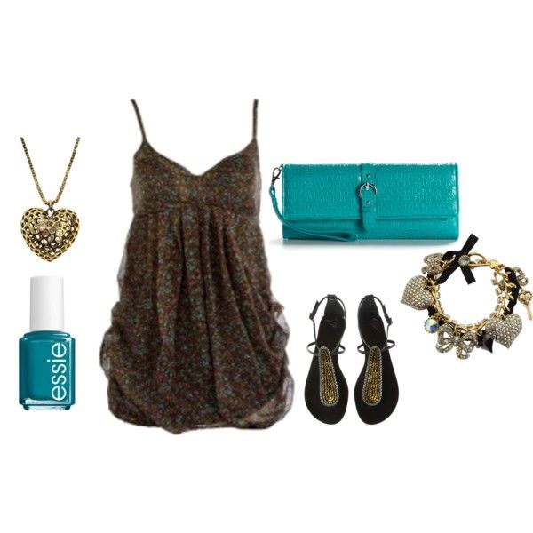 Outfit for my turquoise clutch