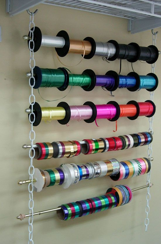 Clever, easy and inexpensive way to store ribbon or even gift wrap for easy access.  No carpentry required.  Just 2 equal lengths of chain a couple of S-hooks and cafe curtain rods.