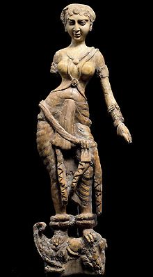 This ivory statuette found at the Begram site dates from the 1st or 2nd century A.D. and depicts a woman standing on a mythological mount known as a makara, a creature part crocodile, part elephantand part fish. (Thierry Ollivier/Museé Guimet)