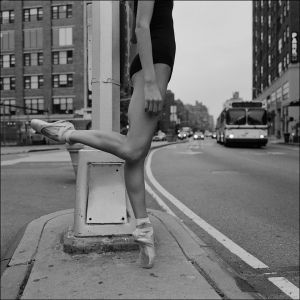 On pointe. Dancing on the street.