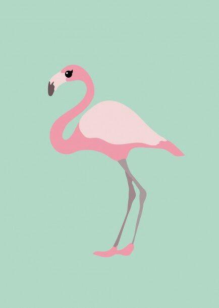 Poster flamingo in roze & mintgroen mint decoratie kinderkamer babykamer