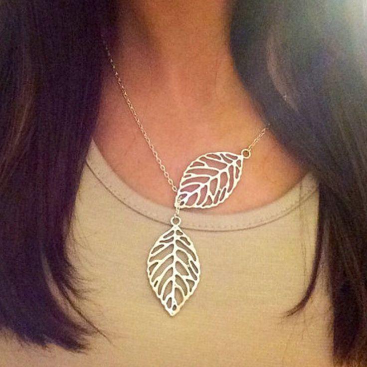 Лист ожерелье Для Женщин Двойной лист ожерелье XL246