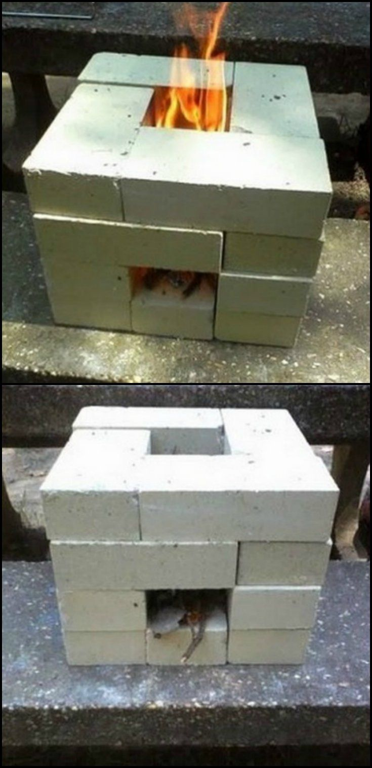 Make a brick rocket stove for just 6 need a temporary for Brick jet stove