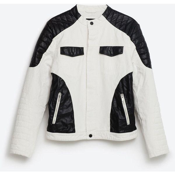 Zara Black And White Denim Jacket (375 SAR) ❤ liked on Polyvore featuring men's fashion, men's clothing, men's outerwear, men's jackets, white, mens white jean jacket, mens white jacket, mens lined denim jacket, zara mens jackets and mens lined jean jacket