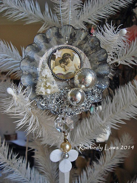 SPECIAL ORDER for Mary - Christmas - mixed media art - rusty vintage cookie cutter ornament - NO 750