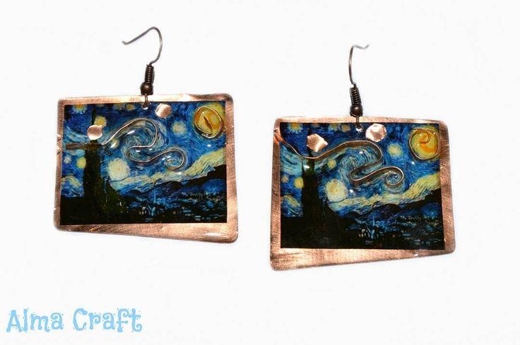 """Van Gogh's """"Starry Night""""  Resin Earrings"""