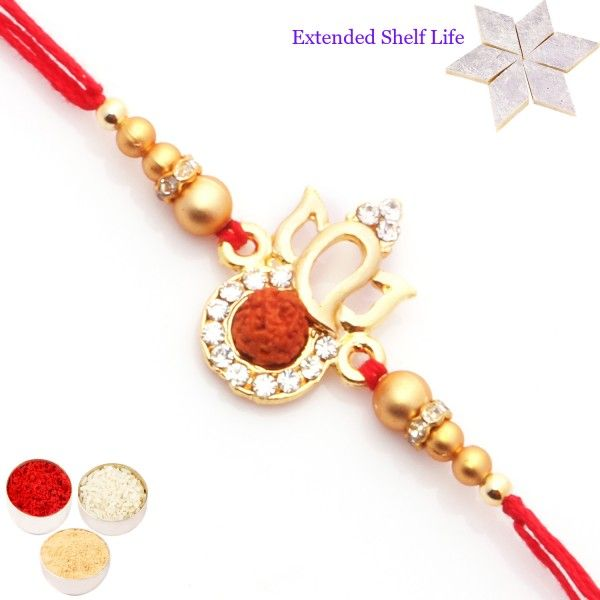 Rakhis Online- Set of 2 Ganesha Rudraksh Diamond Divine Rakhis