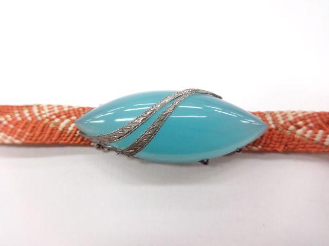 アンティーク ガラス帯留め(三部紐付き): antique, sash clip of a glass