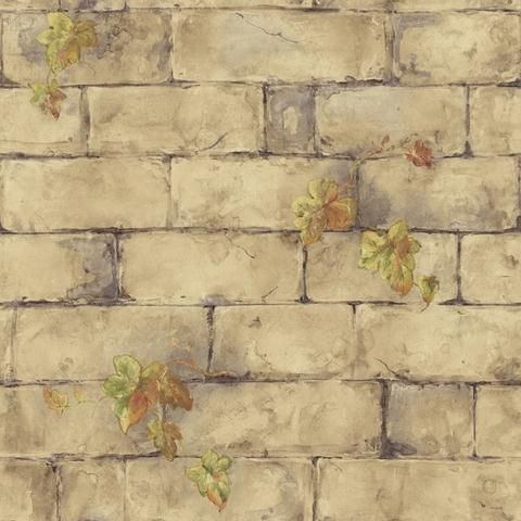 BC1580731 - Neutral and Brown English Brick  Ivy Wallpaper from Design by Color/Brown. Perfect for brick faux accent walls. Distributed by Blue Mountain. $27.99 a roll. Free shipping.
